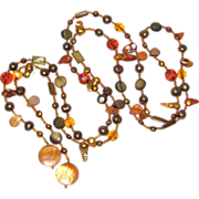 """53"""" Lariat Necklace with Mother of Pearl, Freshwater Pearls and Crystal Beads"""
