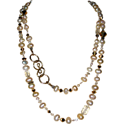 """Necklace of Freshwater Cultured Pearls and Crystal Beads with Artisan Clasp - 36"""""""