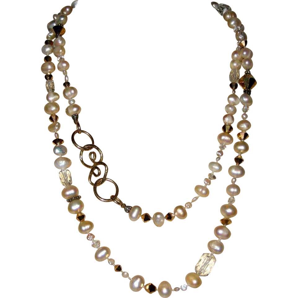 Necklace of Freshwater Cultured Pearls and Crystal Beads with Artisan Clasp - 36""