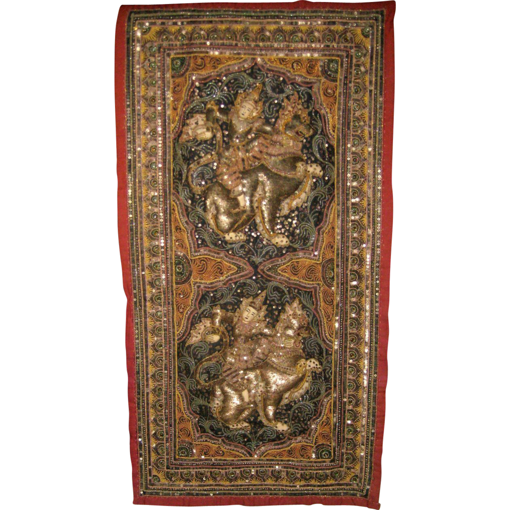 Embroidered And Sequined Thai Wall Hanging Mid 1900 S