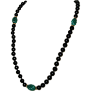 Carved Malachite and Onyx Hand Knotted Necklace with 14K Gold Accents - 28""