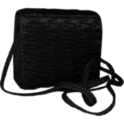 Black Ruched Silk Evening Purse