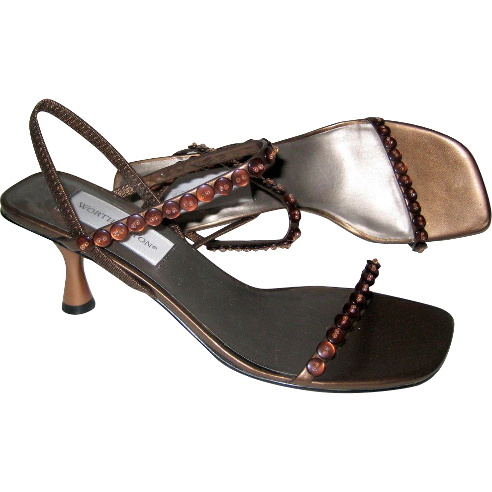 Worthington Bronze Colored Dress Sandals with Button Detail and Louis Heel - Size 7 1/2M
