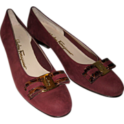 Salvatore Ferragamo Maroon Suede Shoes -Vara Bow with Crocodile Leather Accents 8 1/2 AAA