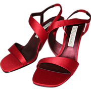 Nina Red Satin High Heeled Sandals - 7 1/2M - Never Worn