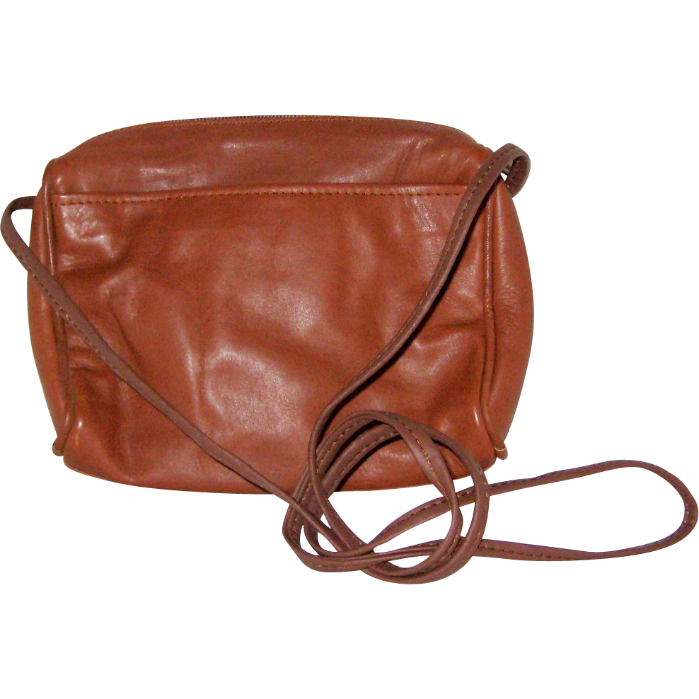 Small Camel Colored Leather Shoulder Bag Made in India