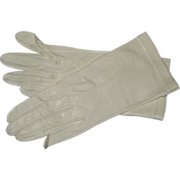 White Kid Leather Gloves - Size 7, Never Worn