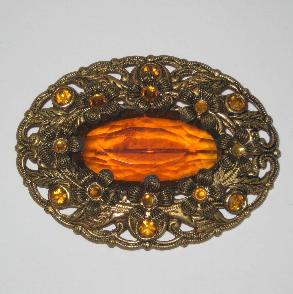 Brass Filigree Floral Brooch with Amber Colored Stones