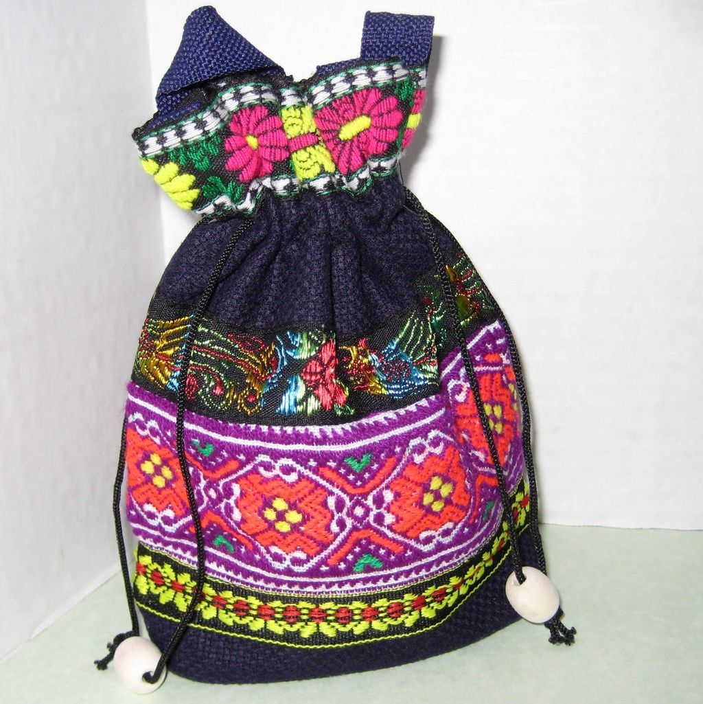 Small Vintage Rajasthani Drawstring Bag  - Flowers