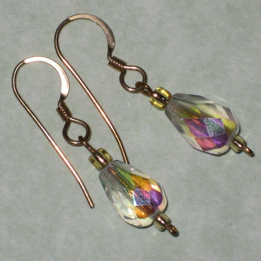Faceted Aurora Crystal Earrings with Gold-filled Wires