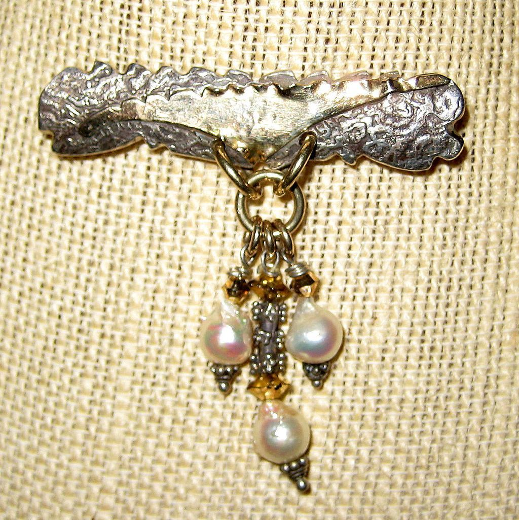Modernist Designer Pin with Baroque Cultured Pearls