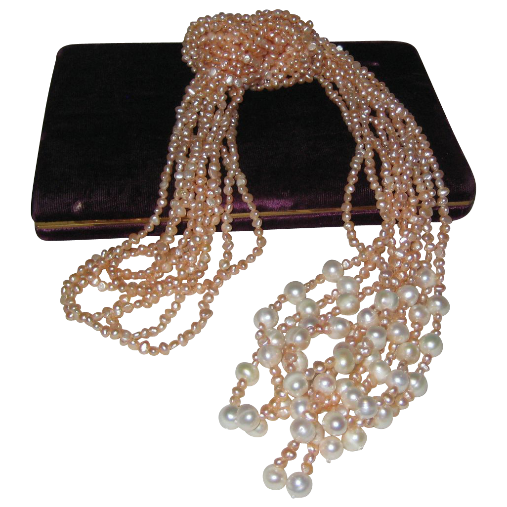 "Pearls and More Pearls - Five 48"" Ropes of Peaches and Cream Cultured Freshwater Pearls"