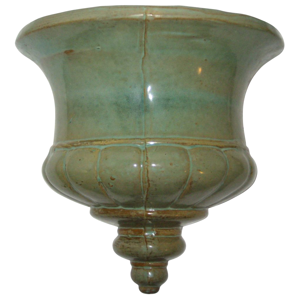 Hand Made Art Pottery Urn Wall Pocket Planter with Celadon Glaze