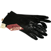 Black Silk Lined Aris Women's Gloves - Size 7 - Original Tags