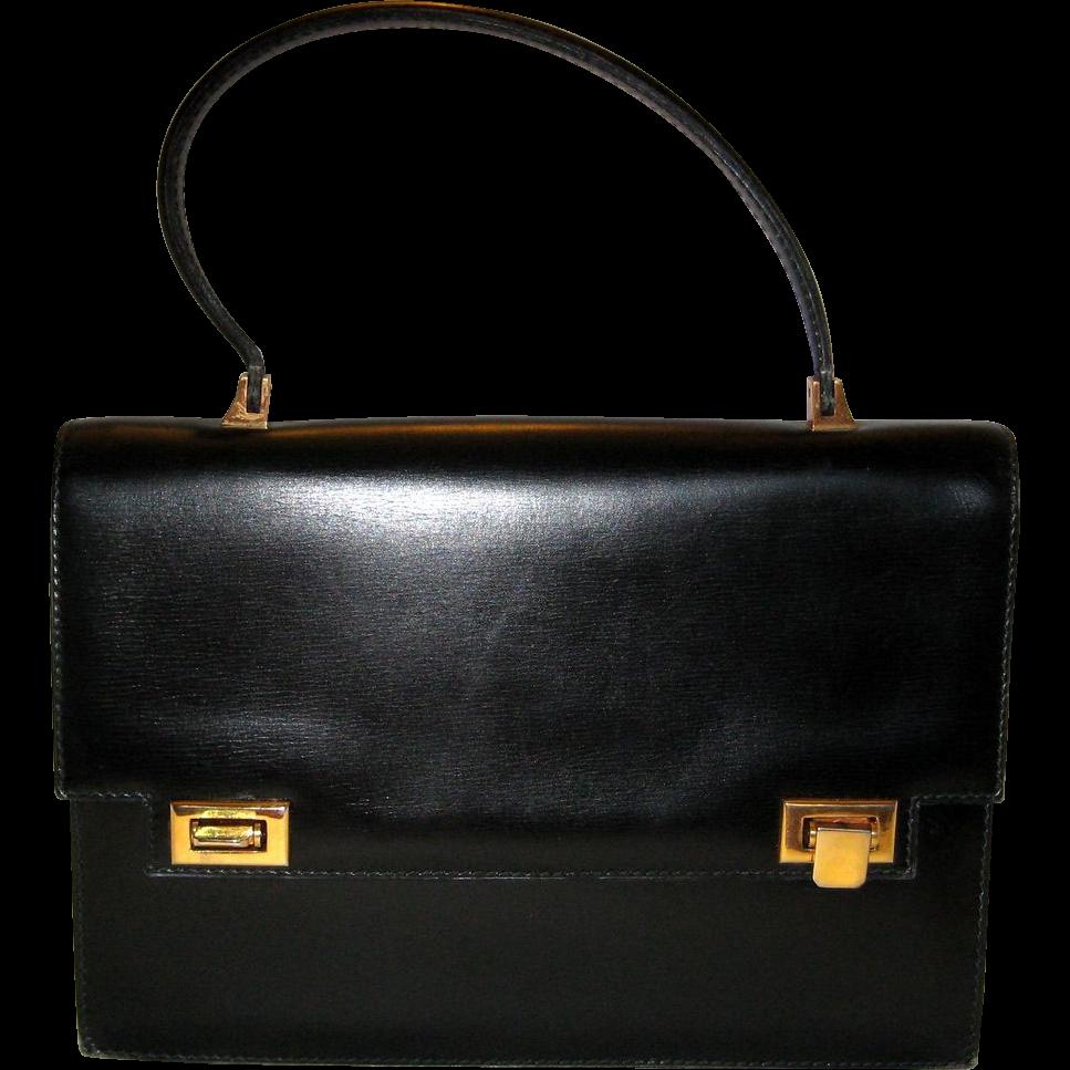 Classic Black Glove Leather Handbag