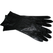 Black Kid Leather Gloves, Size 7