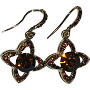 Vermeil Quatrefoil Citrine Colored Crystal Earrings with Bejeweled Ear Wires