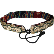 Hand Made Embroidered Cowrie Shell and Seed Bead Belt from Nepal
