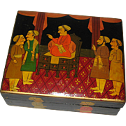 Hand Painted Kashmir India Paper Mache Box with Moghul Figures
