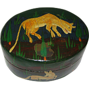 Hand Painted Kashmir India Papier-Mache Box with Lioness