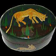 Hand Painted Kashmir India Papier-Mache Box with Lioness