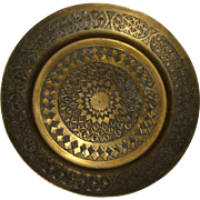Small Engraved Brass Tray From Iran