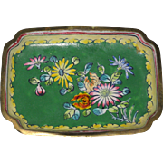 Miniature Floral Chinese Enamel over Copper Tray - Circa 1930 - Red Tag Sale Item