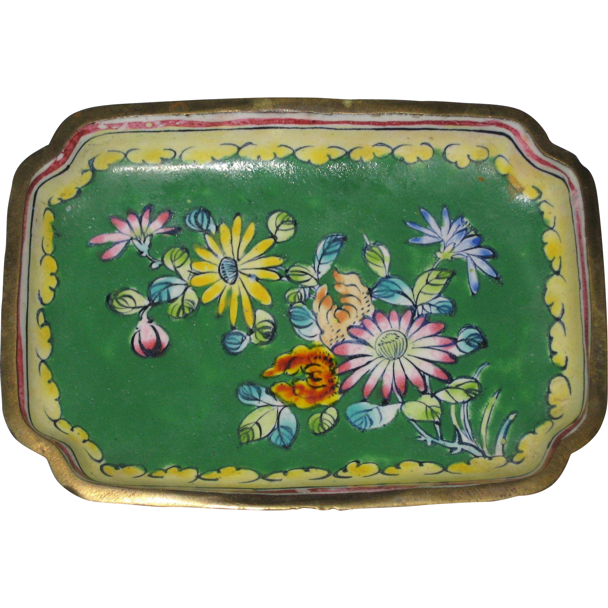 Miniature Floral Chinese Enamel over Copper Tray - Circa 1930