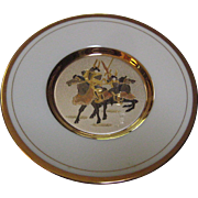 Japanese Porcelain Chokin Plate with Samurai Warriors on Horseback - 24K Gold Edged