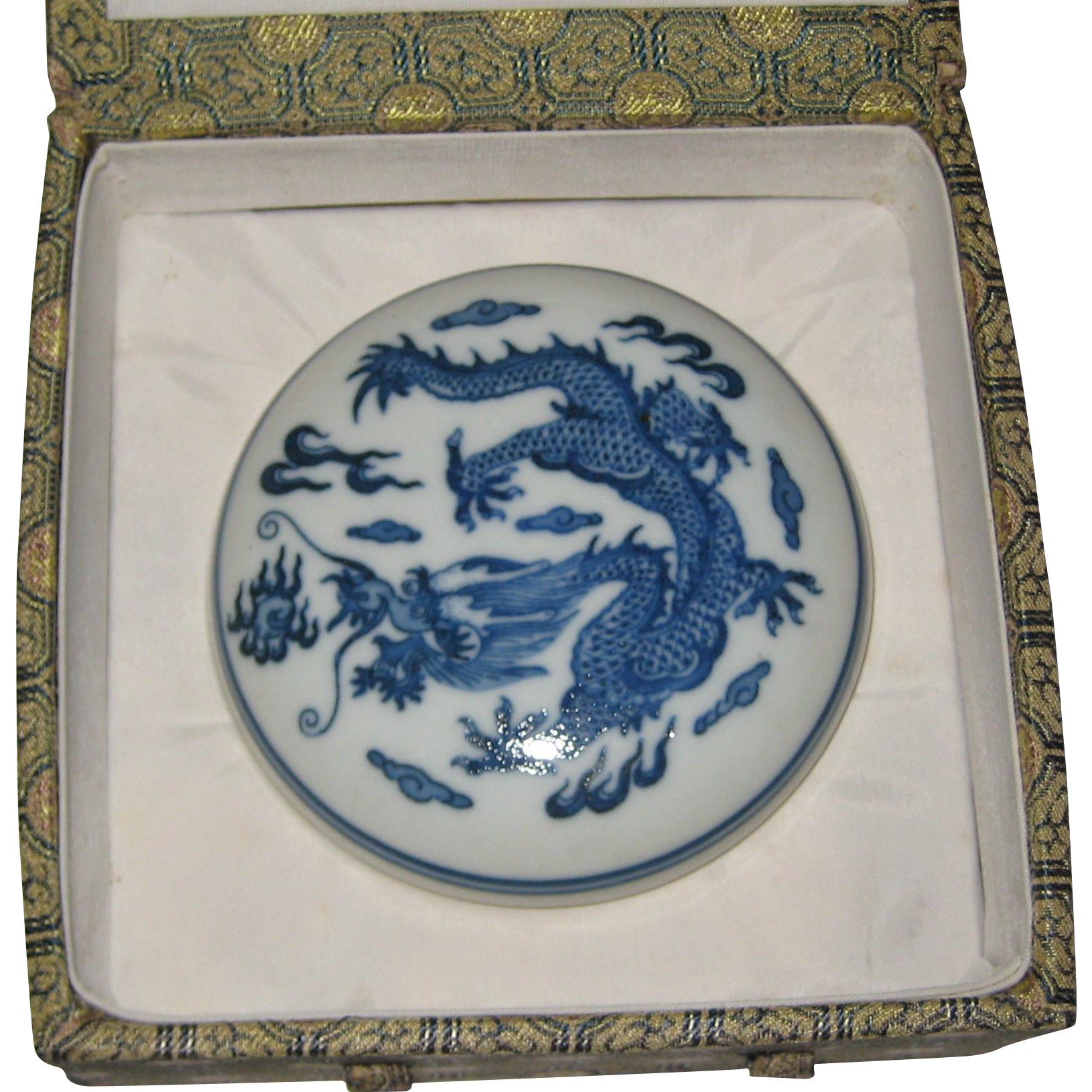 Chinese Porcelain Ink Box with Dragon - Unused in Cloth Brocade Box