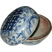 Older Chinese Blue and White Porcelain Seal Paste Ink Pot or Dish - Double Happiness