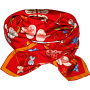 Salvatore Ferragamo Silk Twill Scarf - Hearts, Butterflies, Violets, Clover