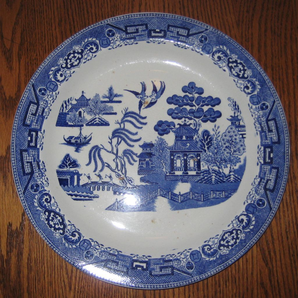 Ridgway Blue Willow Transferware Chop Plate or Round Platter 12.5""