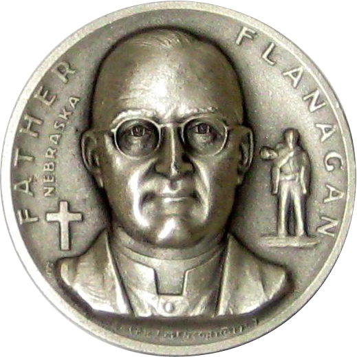 Medallic Arts Silver Statehood Medal - Father Flanagan of Nebraska