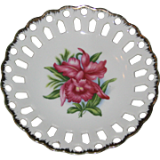 Napco Lattice Edge Decorative Hand Painted Porcelain Plate with Pink Orchid