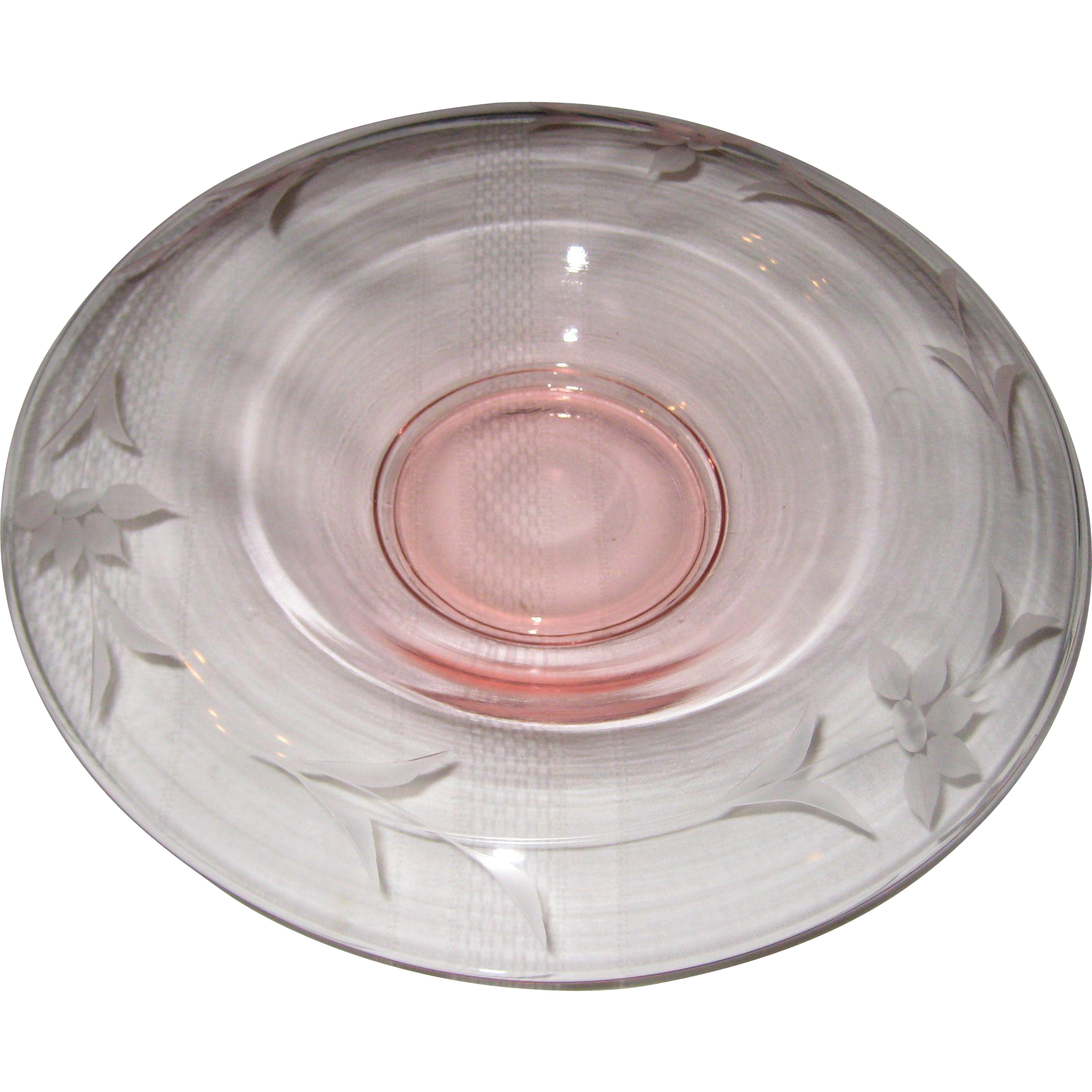 Lancaster Glass 1920's - 1930's Pink Etched Glass Console Bowl with Floral Pattern
