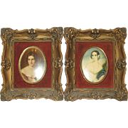 Pair of 1940's Cameo Creations Miniature Framed Portraits - Pauline Bonaparte and Isabella Montgomery