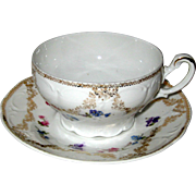 Porcelain Teacup and Saucer with Flowers - Made in Germany