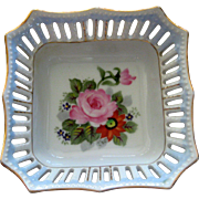Occupied Japan Porcelain Dish with Hand Painted Pink Roses and Pierced Border