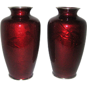 "Pair of 7"" Japanese Pigeon Blood Red Ginbari Cloisonne Vases with Silver Rims"