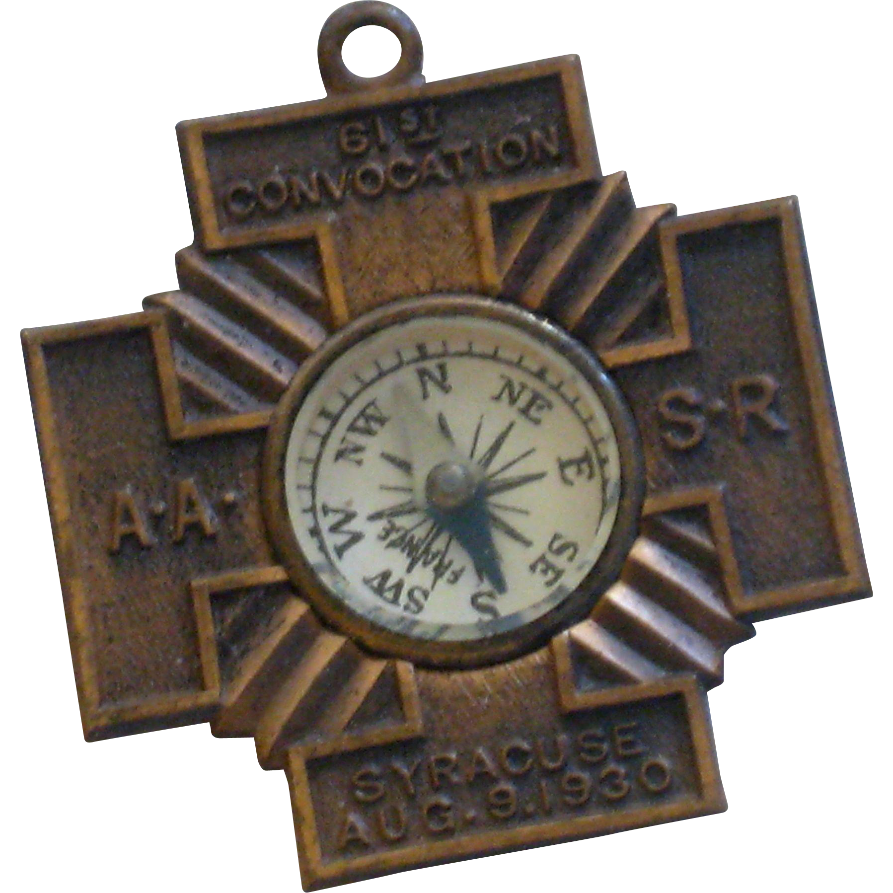 1930 AASR Masonic Watch Fob with Directional Compass
