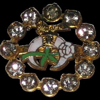 1940's Daughters of the Nile Enamel and Rhinestone Pin - Masonic Shriners Women