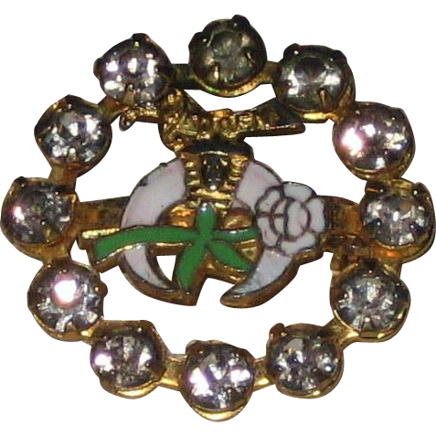 1940's Daughters of the Nile Enamel and Rhinestone Pin - Masonic Shriners Women