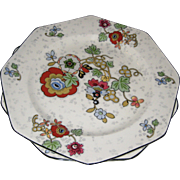 "Two 9 1/2"" Hexagonal Plates - Crown Ducal Beaumont Chintz Pattern"
