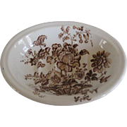 Royal Crownford Staffordshire Soap Dish in the Brown on White Transferware Charlotte Pattern