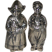 German 800 Silver Figural Salt and Pepper Shakers - Dutch Boy and Girl - Circa 1915 - 1920