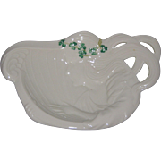 Irish Belleek Butter or Pin Dish with Lady, Harp and Shamrocks