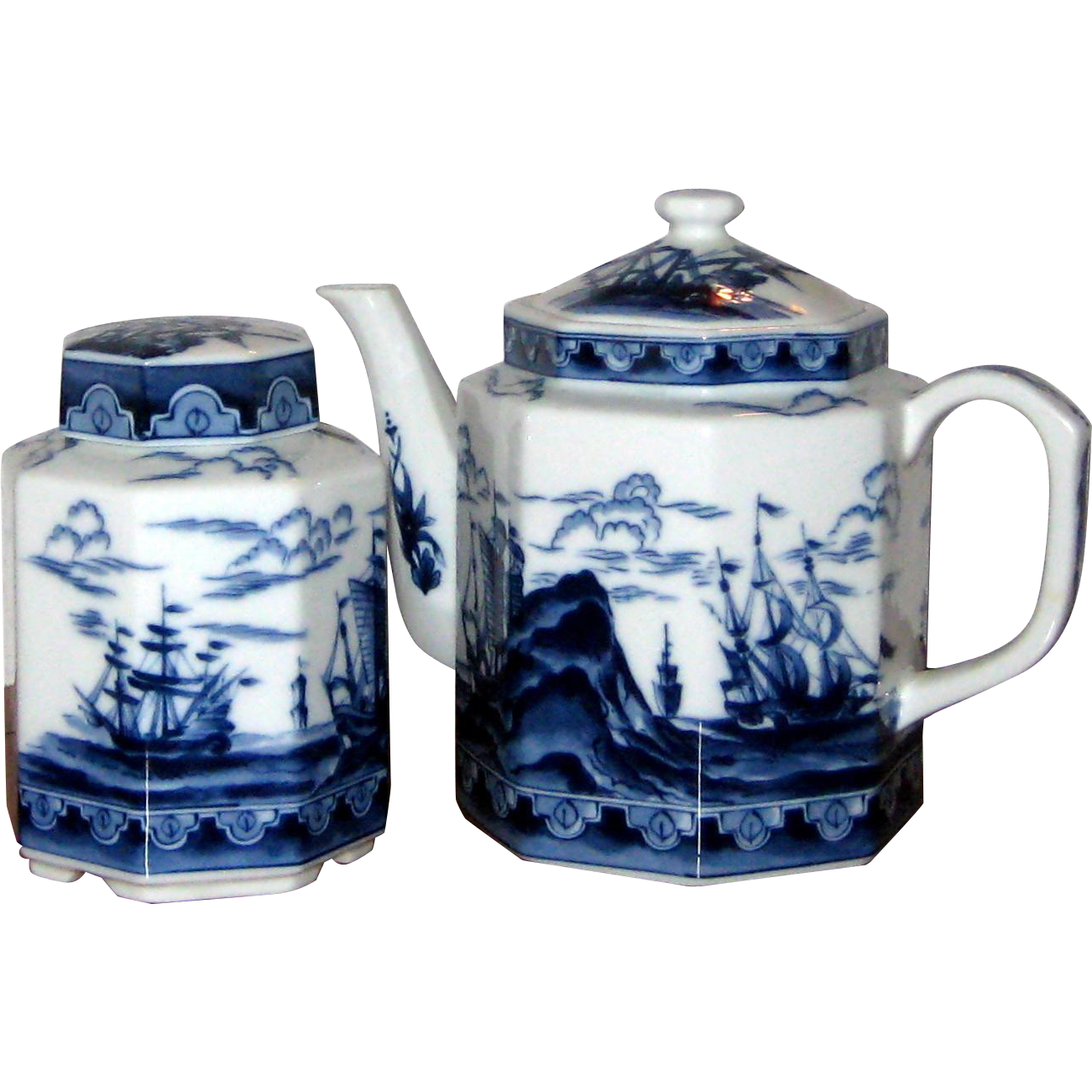 Andrea by Sadek Maritime Nautical Theme Teapot and Tea Caddy