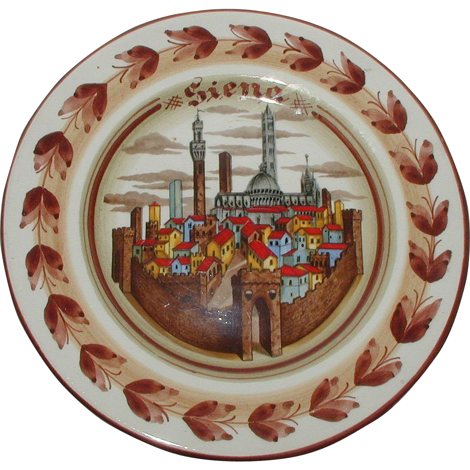 Pottery Plate with Scene of Siena, Italy