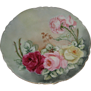 "AK D France 8 3/4"" Porcelain Plate with Hand Painted Roses"